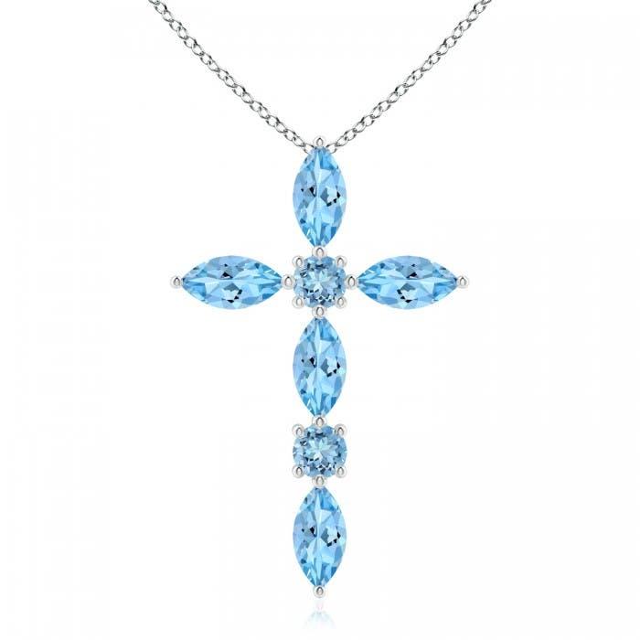 Angara Marquise Aquamarine Cross Pendant for Women in Rose Gold iGchyvkfQQ