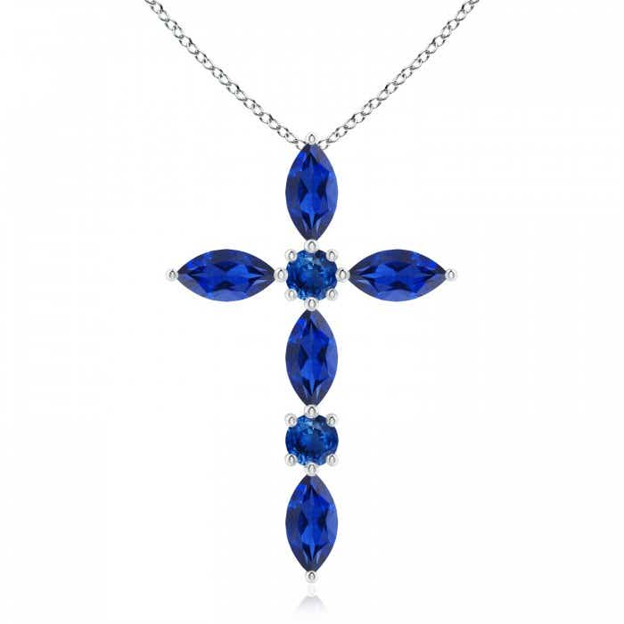 Angara Blue Sapphire Cross Pendant Necklace in Yellow Gold 1akWOPOE