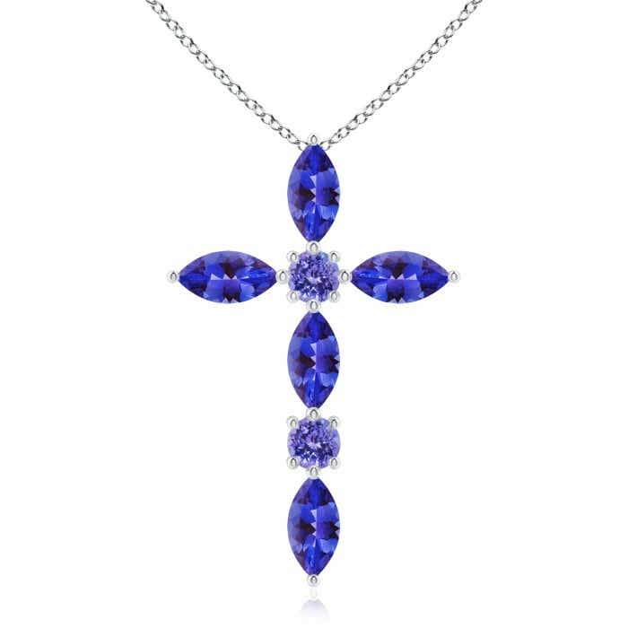 Marquise and round tanzanite cross pendant angara 18 inches 14k white gold chain comes free with pendant aloadofball Choice Image