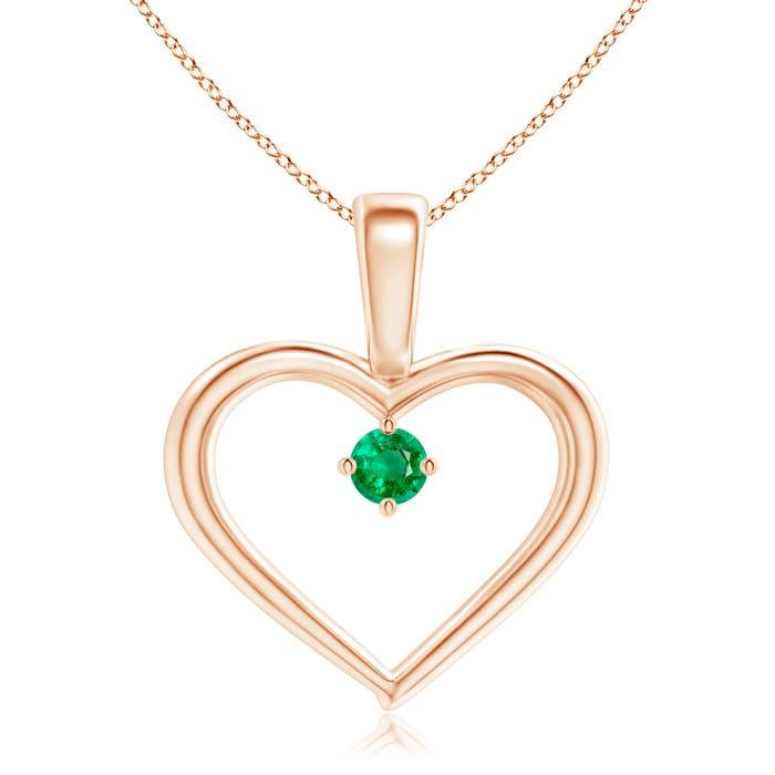 Angara Round Emerald Open Heart Pendant in White Gold m6V26Nr
