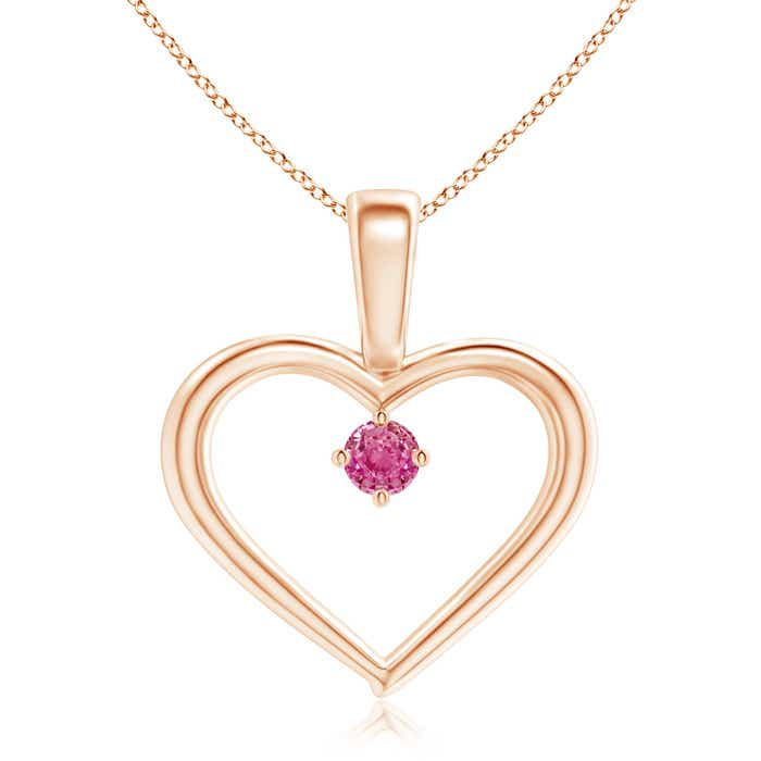 Angara Round Pink Sapphire Solitaire Necklace in White Gold t6VQC
