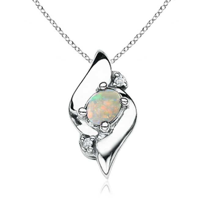 Angara Shell Style Oval Opal and Diamond Pendant zfK2KlUo
