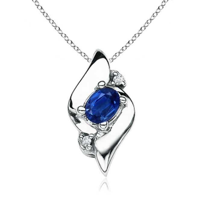 Angara Oval Sapphire and Diamond Pendant in Platinum tUVqBvN