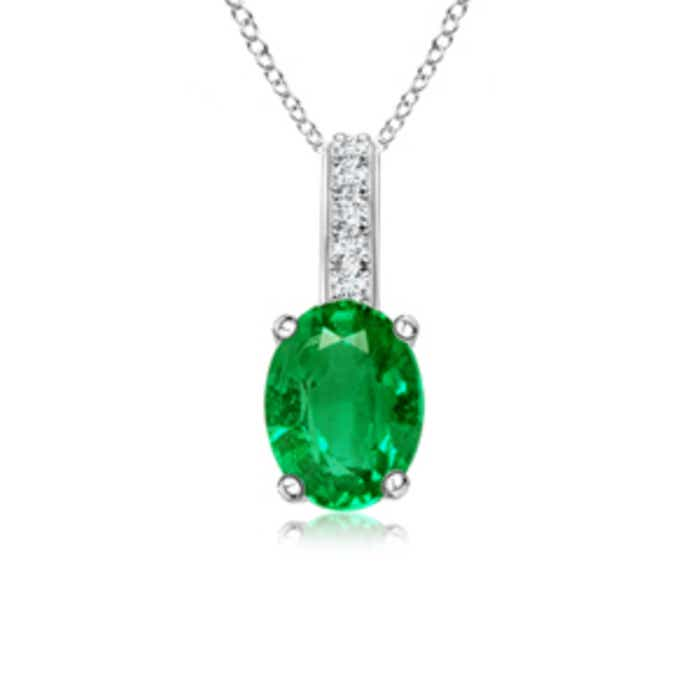 Angara Oval Emerald Solitaire Pendant with Diamond OxxyZ