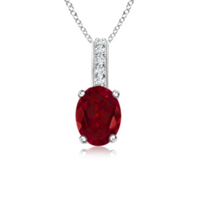 Angara Oval Garnet Solitaire Pendant with Diamond Bale g9XnVTWR