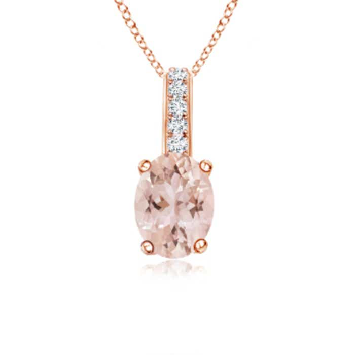 Angara Morganite Solitaire Necklace in Yellow Gold 090tbMP3