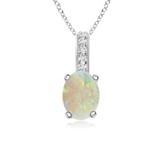 Angara Oval Opal Solitaire Pendant with Diamond Bale sCdtQ