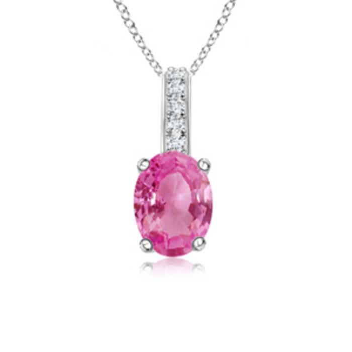 Angara Oval Amethyst Solitaire Pendant with Diamond Bale ITApRHF