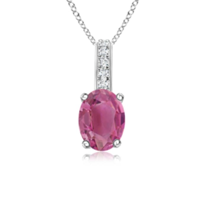 Angara Oval Ruby Solitaire Pendant with Diamond Bale DQ1uES4kfk
