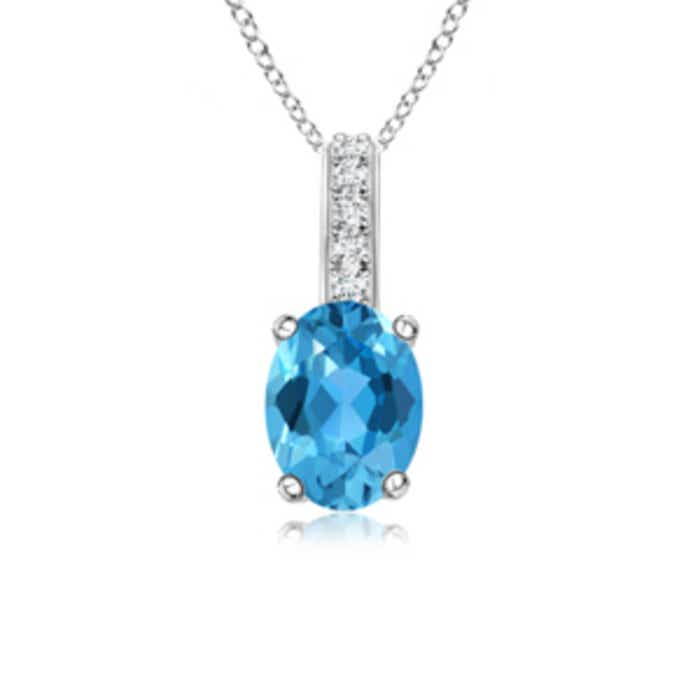 Angara East-West Swiss Blue Topaz Pendant with Diamond Bale