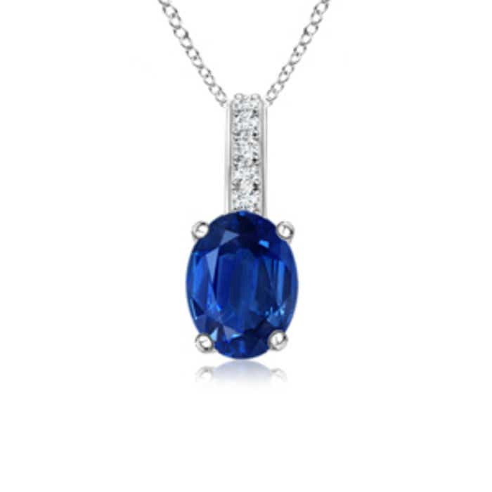 Angara Oval Blue Sapphire Solitaire Pendant with Diamond Bale