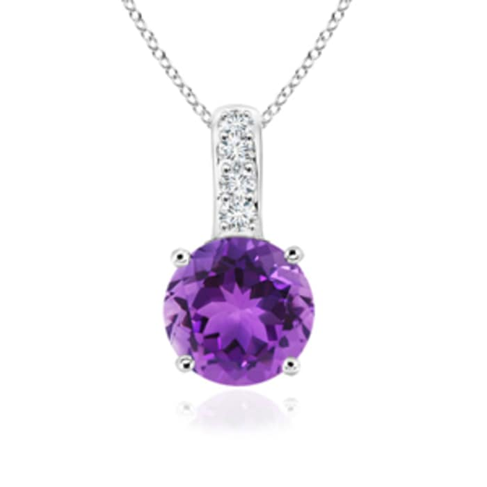 Angara Round Amethyst Necklace in White Gold