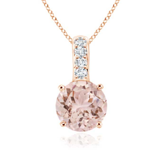 Angara Dangling Round Morganite and Diamond Halo Pendant for Women FoIrhRxs47