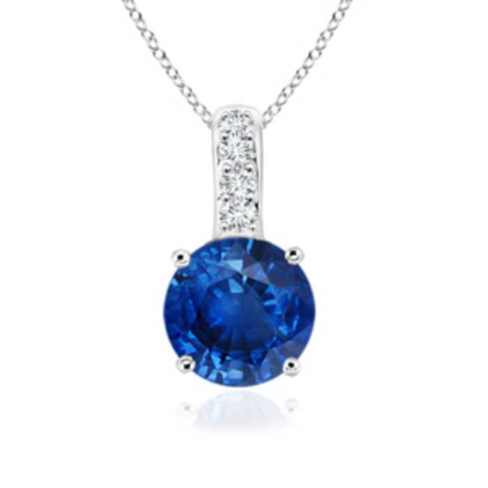 Angara 14k White Gold and Blue Sapphire Solitaire Pendant XS6bF9