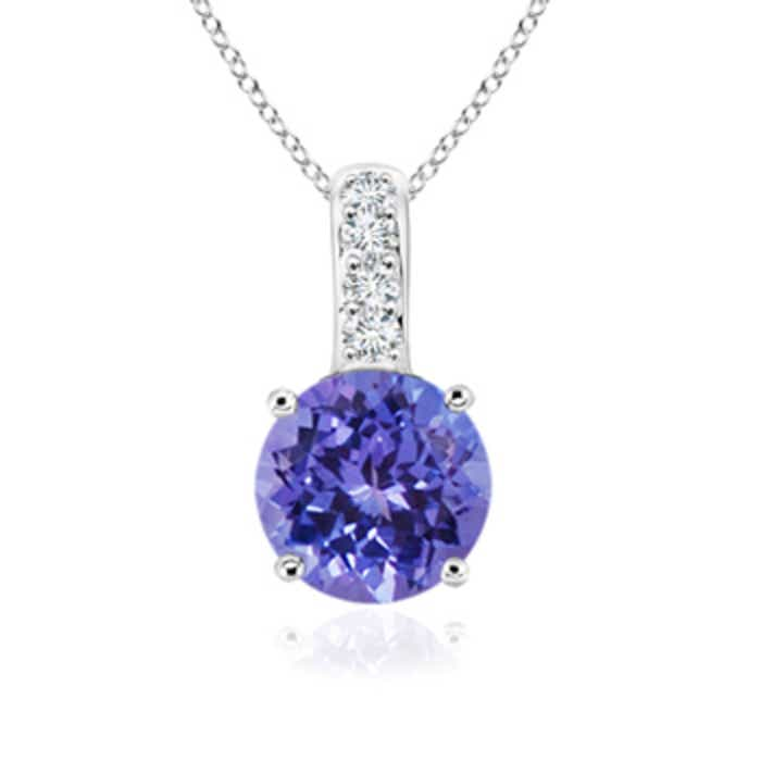 Angara Round Amethyst Necklace for Women in White Gold qZs8Au