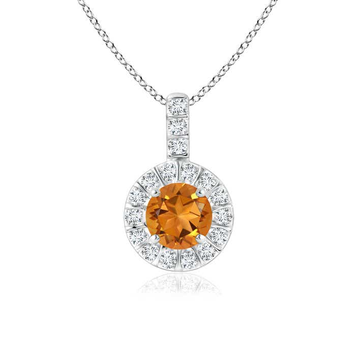Angara Diamond Halo Citrine Drop Necklace Yellow Gold