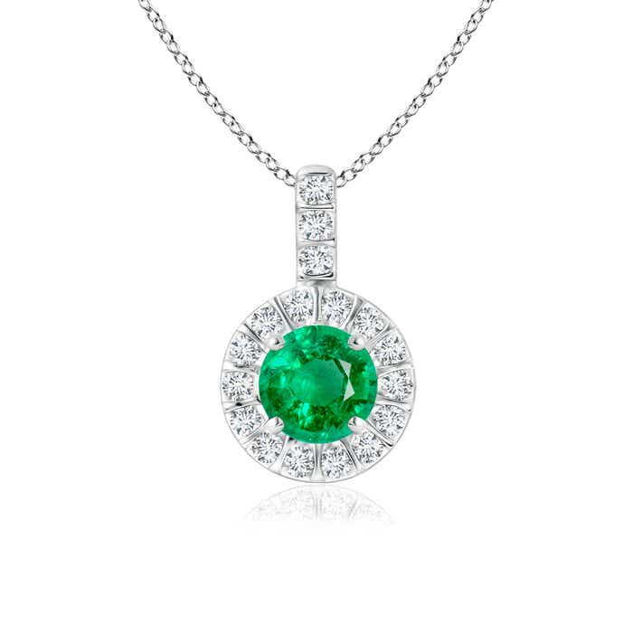Angara Claw-Set Round Emerald Pendant with Diamond Halo 9XmdRXU1