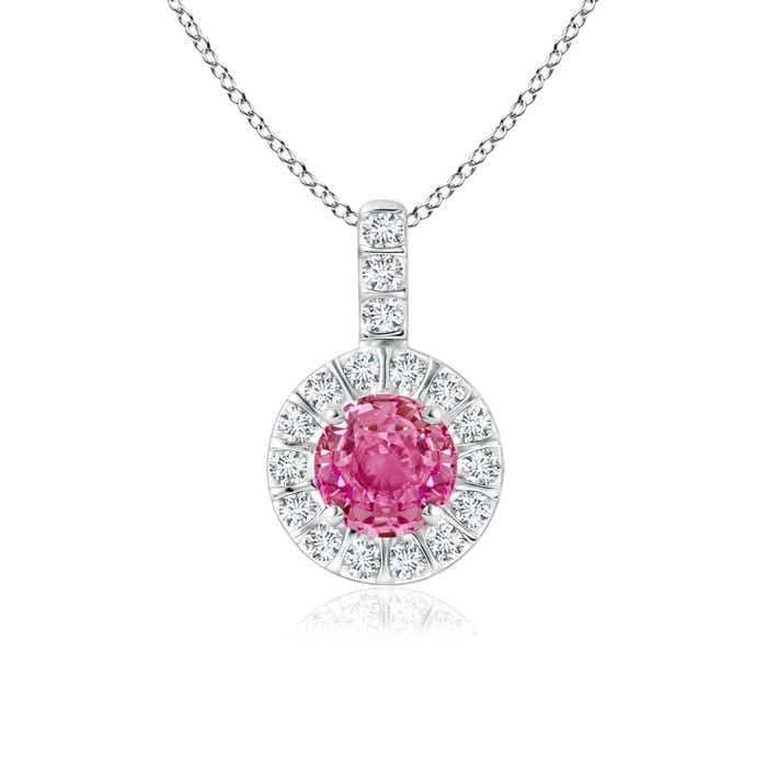 Angara Dangling Round Pink Tourmaline and Diamond Halo Pendant in Platinum