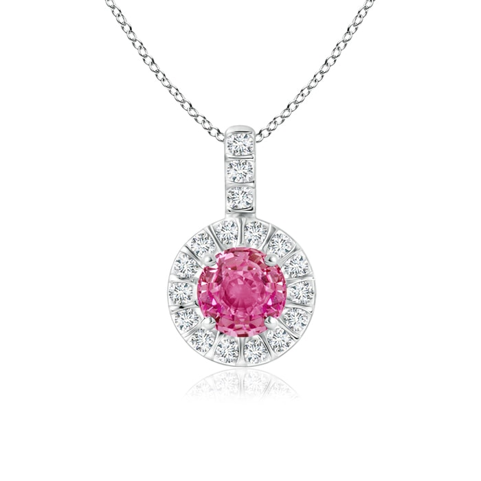 Angara 5mm Sapphire Diamond Halo Necklace in 14k Rose Gold hSNbyzDp