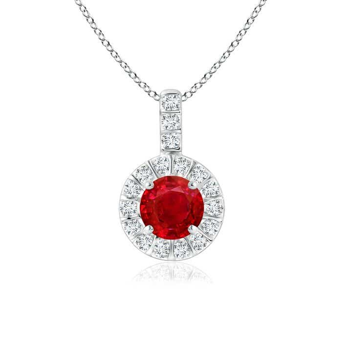Angara Diamond Halo Ruby Vintage Pendant in Platinum