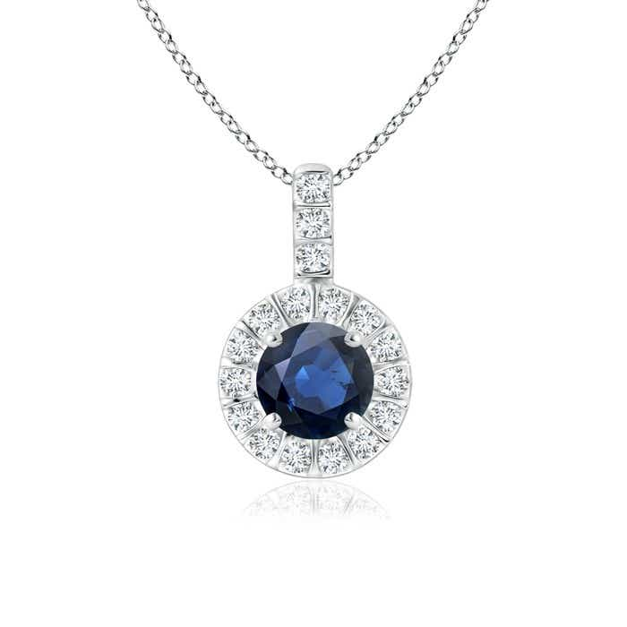 Angara Round Blue Sapphire and Diamond Halo Vintage Necklace in White Gold G4DYFr