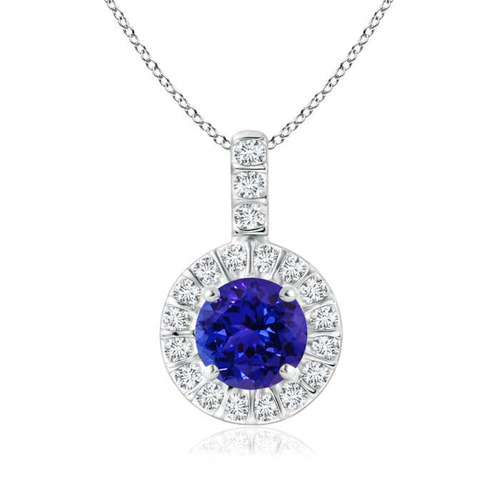 Angara Diamond Halo Tanzanite Drop Necklace in Rose Gold SYGpk