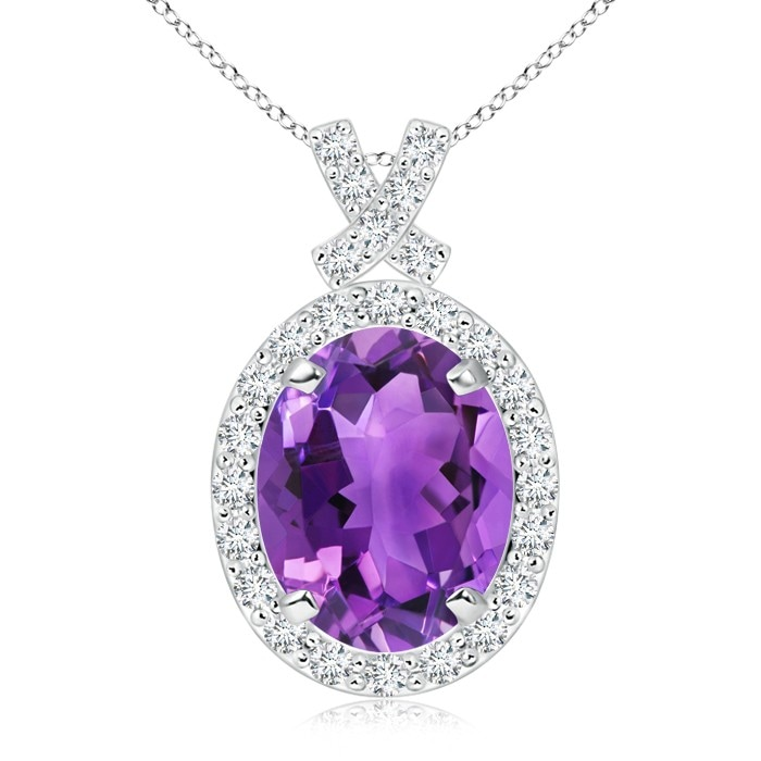 Angara Vintage Style Amethyst and Diamond Halo Pendant 6M6hy