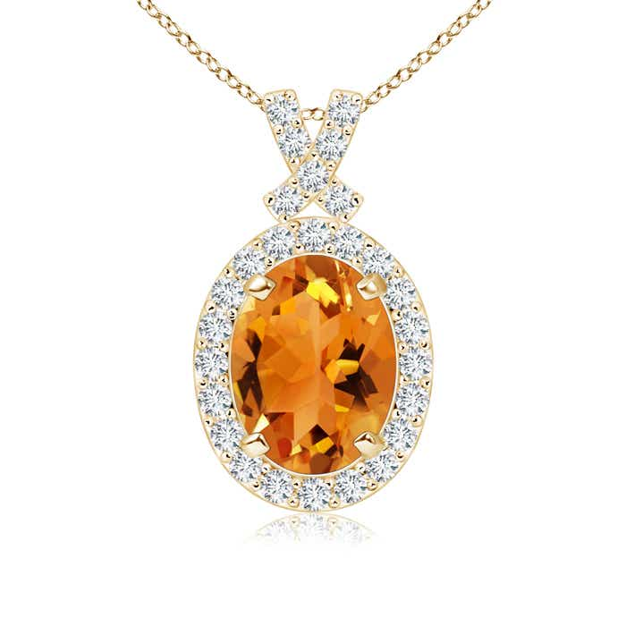 Angara East-West Citrine Pendant with Diamond Bale fJoasDE