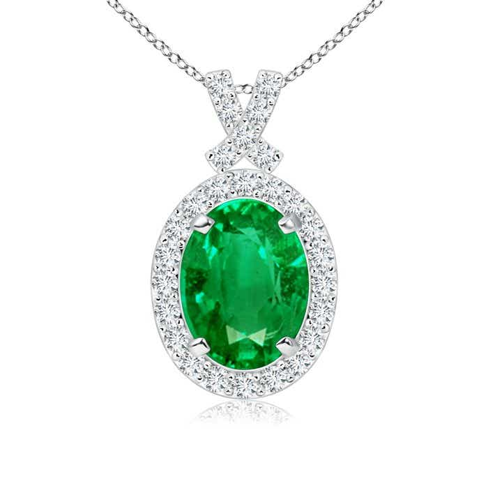 Angara Diamond Halo Emerald Drop Necklace Platinum