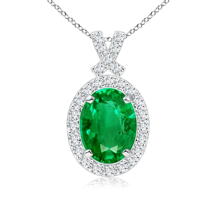 Angara Diamond Halo Emerald Drop Pendant in White Gold