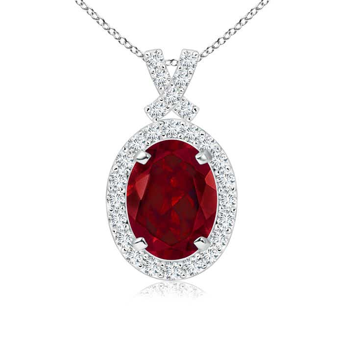 Angara Vintage Style Oval Garnet Pendant with Diamond Halo