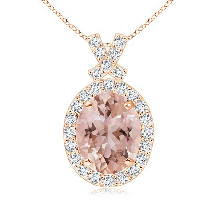 Angara Oval Morganite and Pendant with Diamond Halo in Yellow Gold 3Rd0sWkEz