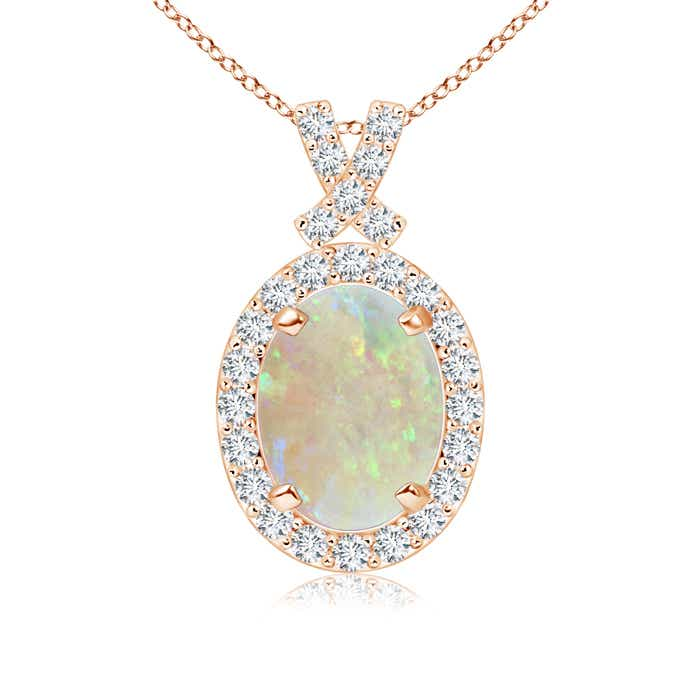 Angara Scallop-Edged Oval Opal Halo Pendant with Sapphire in 14K Rose Gold Vc93M