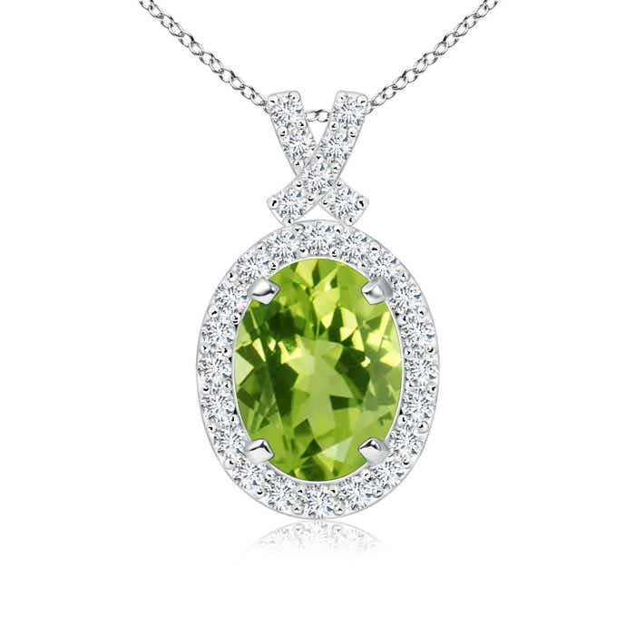 Angara Diamond Halo Peridot Drop Necklace Yellow Gold RsBeCbud