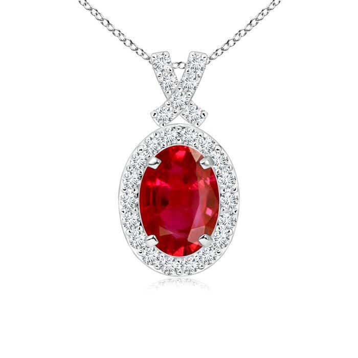 Angara GIA Certified Oval Ruby Double Halo Pendant