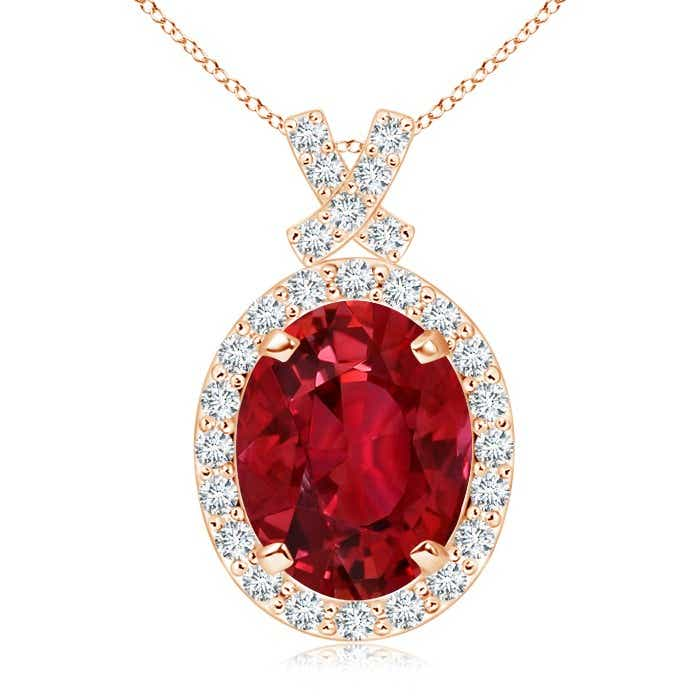 Angara Diamond Halo Ruby Drop Necklace Rose Gold HNiTwbO