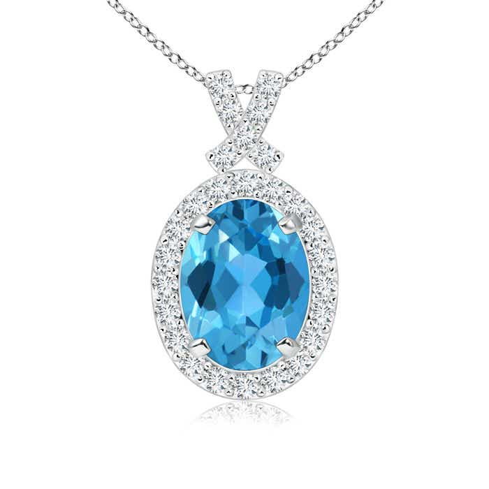 Angara Vintage Style Swiss Blue Topaz and Diamond Halo Pendant
