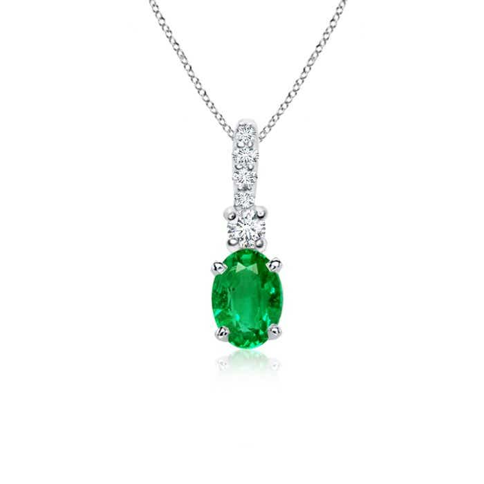 Angara Oval Emerald Solitaire Pendant with Diamond Bale TZRNMHNZaD