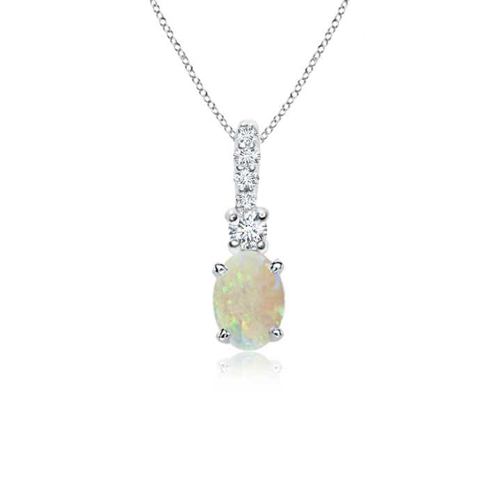 Angara Solitaire Round Opal Pendant with Diamond Bale FiTVm