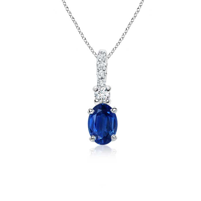 Angara Shell Style Diamond and Oval Sapphire Pendant in White Gold 8tQIHaQ