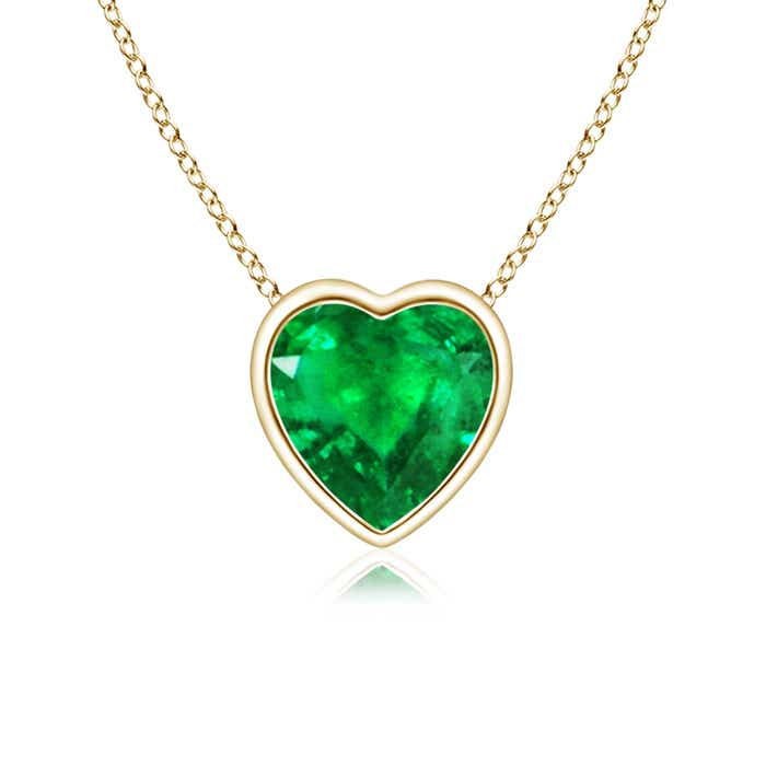 Angara 14k Yellow Gold Solitaire Heart Emerald Drop Earrings M9ygHayj