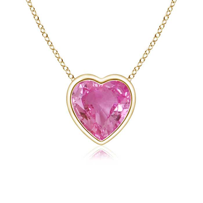 Angara Heart-Shaped Pink Sapphire Ribbon Pendant with Diamond 5SIDXAXI