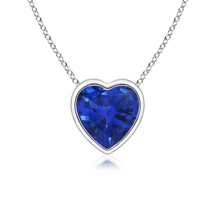 Angara Heart Blue Sapphire Pendant in Rose Gold pTzh59BR