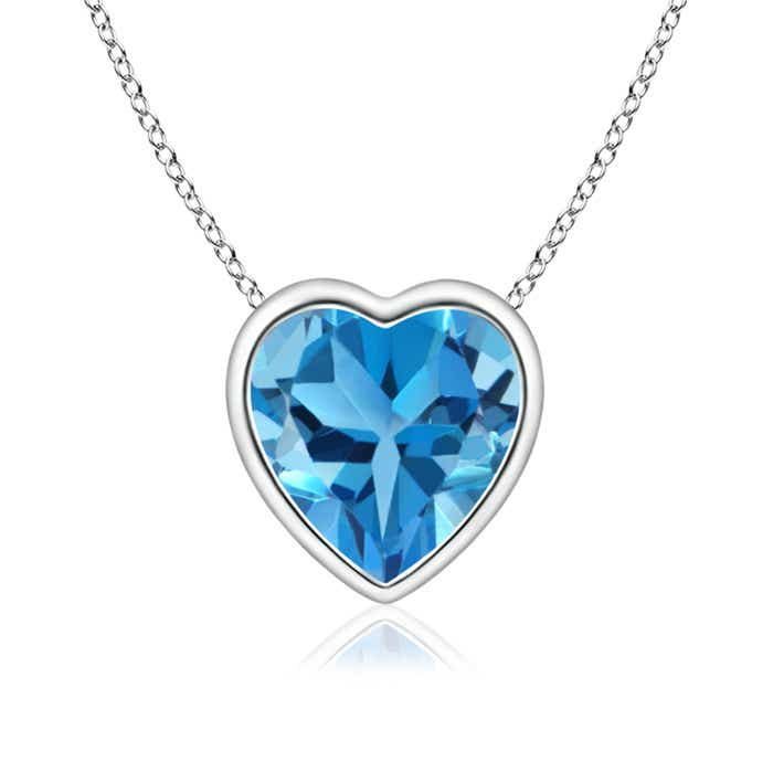 Angara Heart-Shaped Swiss Blue Topaz Ribbon Pendant with Diamond sCEu4yBn