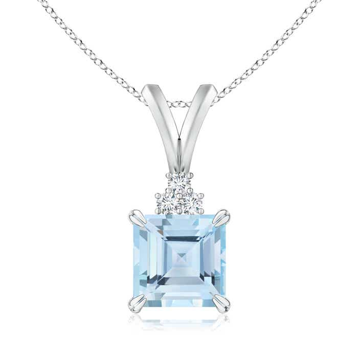Angara Emerald-Cut Aquamarine Pendant with Diamond Trio