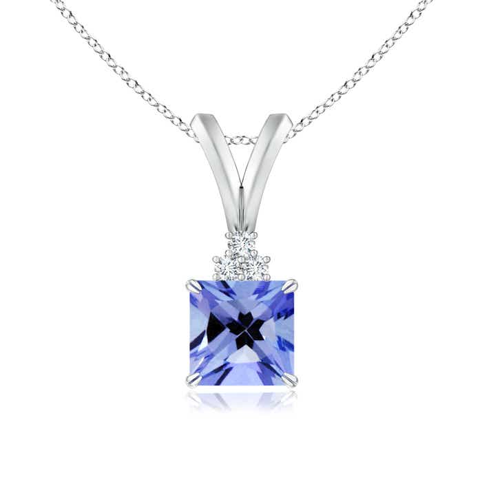 Angara Square Tanzanite Pendant in Platinum