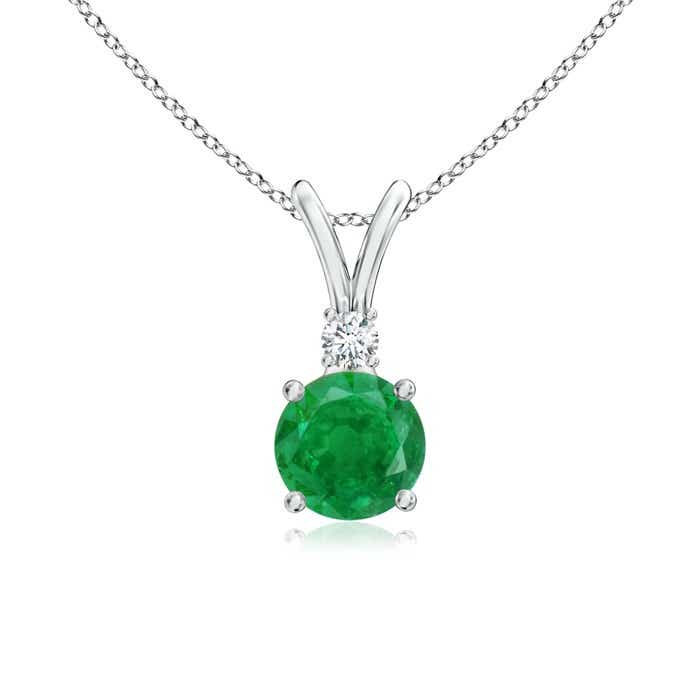 Angara Oval Emerald Solitaire Pendant with Diamond