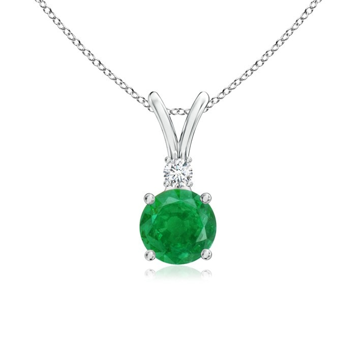 Angara Three Round Emerald Necklace in Yellow Gold aUZgUx2JRG