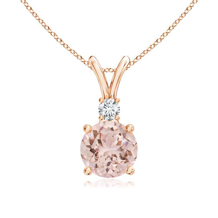 Angara Round Morganite Necklace in White Gold Ur4VuMxav2
