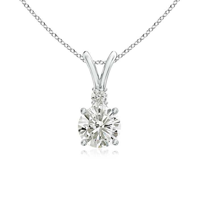 Angara Round Moissanite Necklace in Yellow Gold YgAepZsh5